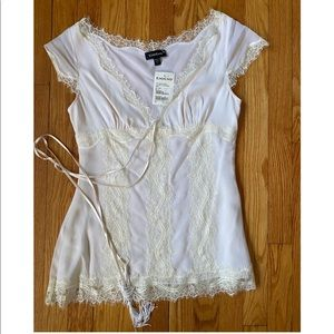 NWT Beautiful bebe Ivory Silk Lace Top